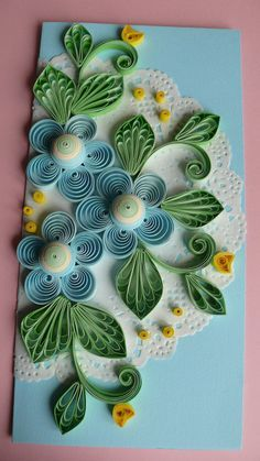 Quilling Art Greeting Card Birthday Wedding by on Etsy - Paper Ideas Quilling Birthday Cards, Paper Quilling Cards, Arte Quilling, Flower Birthday Cards, Paper Quilling Flowers, Paper Quilling Patterns, Quilled Paper Art, Quilling Craft, Card Birthday