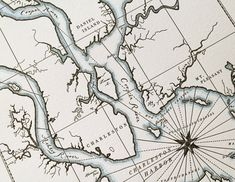 Charleston, South Carolina, Map Print ~ Hand-drawn and printed on an old-fashioned letterpress to look like an authentic artifact, each piece is tinted with watercolor. Quail Lane Press