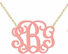 Monogram Necklace Hand Made Custom Pink Initials Personalized H Love Jewelry  Acrylic. $21.99, via Etsy.