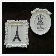 "Parisian Love ""framed""! - Vintage home/bath decor accessory - More options available - jymcreations@gmail.com. #Handmade #Crossstitch #Frames #Paris"