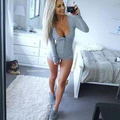 Women's Long Sleeve Knitted Bodysuit Rompers