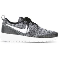 Nike Roshe One Sneakers ($128) ❤ liked on Polyvore featuring shoes, sneakers, black, black sneakers, flyknit trainer, nike, flat sneakers and lace up sneakers