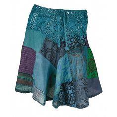 patchwork skirt with crochet yoke