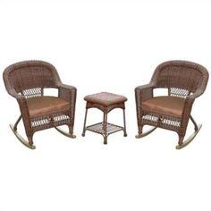 Jeco 3pc Wicker Rocker Chair Set in Honey with Brown Cushion - Walmart.com