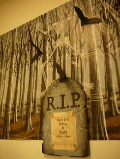 Halloween DIY decor :: FOCAL POINT :::: MORE THRIFTY TREATS: TOMBSTONES GHOSTS A CHANDELIER & A WITCH