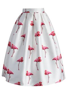 Chic Flamingos Pleated A-line Skirt - CHICWISH SKIRT COLLECTION - Skirt - Bottoms - Retro, Indie and Unique Fashion