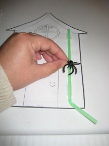 """Itsy Bitsy Spider theme. Put a toy spider ring on a straw. Tape straw down to picture of house. The straw is the """"water spout""""!"""