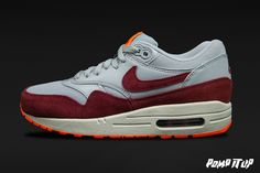 Nike Air Max 1 Essential (WLF GRY7TM RD-TTL ORNG-SMMT WH) For Men Sizes: 40 to 46 EUR Price: CHF 160.- #Nike #AirMax #AirMax1Essential #SneakersAddict #PompItUp #PompItUpShop #PompItUpCommunity #Switzerland