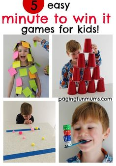 5 easy 'minute to win it' games for kids! Pinning this for our next family games night!