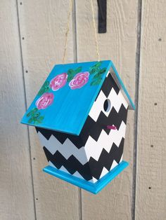 Handpainted Chevron Birdhouse by NKVCountryLiving on Etsy