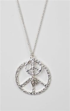 stone peace sign necklace with tiny peace charm
