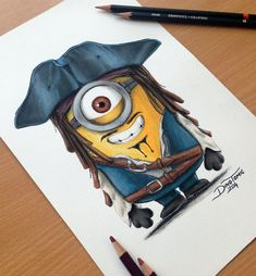 Minion Captain Jack Sparrow Pencil Drawing by AtomiccircuS on DeviantArt