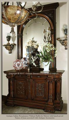 Antique Italian Renaissance Buffet & Mirror and lamp Decor, Home Decor Furniture, Furniture, Decorating Shelves, Furnishings, Hall Decor, Home Decor, Furniture Choice, Furniture Decor