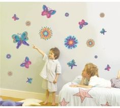 Flower and heart wall art for kids and grown ups. Birds in birdcages, butterflies, heart trees and funky flowers to name a few.
