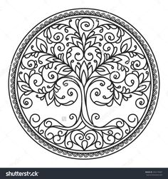 tree mandala  | decor element, vector, black and white illustration, mandala, tree ...
