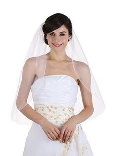 1T 1 Tier Plain Cut Edge Bridal Wedding Veil  Fingertip Length 36 White  >>> To view further for this item, visit the image link.-It is an affiliate link to Amazon. #BridalVeils