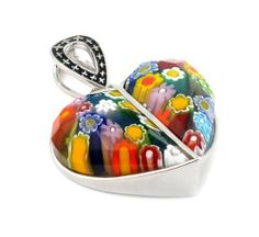 Millefiori Faceted Multi Color Split Heart Pendant Millefiori. $126.00. Handmade (patterns and colors may slightly vary). Approximate Width: 30 MM (1.17 INCHES). Authentic Murano Glass from Italy. Approximate Length: 40 MM (1.56 INCHES). Designer Jewelry by Alan K.. Save 60% Off!