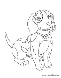 Cute dog coloring page. Nice dog drawing for kids. More animals coloring pages on hellokids.com