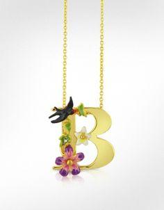 Les Nereides Alphabet Fleuri - B Charm Necklace | FORZIERI