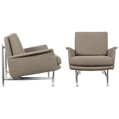 Great modernist armchairs by Donald DESKEY for Charak Modern, High quality construction w/ solid polished aluminum legs. Interesting later design by one of America's most influential designers.