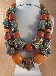 Statement Necklace Set Handcrafted Nepalese Brass Repousse beads set with turquoise & coral and copal amber resin beads by Outwestjewelry