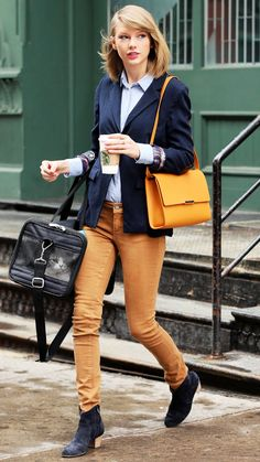 19 Reasons Why Taylor Swift Is a Street Style Pro - March 29, 2014 from #InStyle AKA mustard skinnies how-to