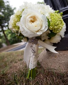 A White & Green Bridal Bouquet with a Playful Note of Charm & Bling! - created by Blossom & Branch Designs, inc.