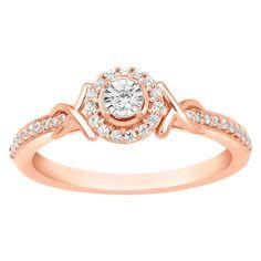 Womens Solid 10k Rose Gold Certified Diamond Engagement Halo Promise Ring 1/4 Ct #CaratsForYou #Halo #EngagementWeddingAnniversaryPromiseValentine