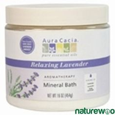 Aura Cacia - 188617 - Relaxing Lavender, Aromatherapy Mineral Bath jar Mineral Bath, Foot Soak, Lavandula Angustifolia, Sodium Bicarbonate, Lavender Oil, Vaseline, Minerals, Health Care, Conditioner