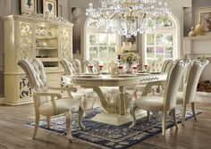 Dining Room Sets - Homey Design HD-27 Dining Table Set 6 Chairs + China