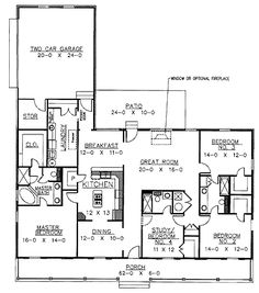 Floor Plans AFLFPW24107 - 1 Story Country Home with 4 Bedrooms, 3 Bathrooms and 2,188 total Square Feet