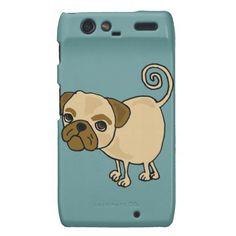 Funny Pug Puppy Dog Cartoon Motorola Droid RAZR Cover #pugs #dogs #pets #funny #droidRAZR #zazzle #petspower