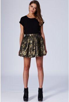 Metallic Jacquard Skater Skirt