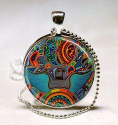 Mexican Art Glass PendantArt Deco Pendant Art by lalapinkdesigns