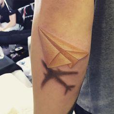 Always dream big - paper plane airplane tattoo travel tattoo #tattoo #ink #plane #paperplane  #colortattoo #dreamliner #tattooed #tattooart