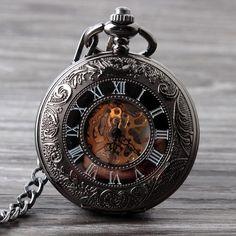 Finely Crafted Dark Vintage Skeleton Window Stainless Steel Quartz Pocket Watch