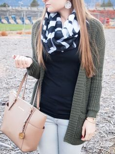 Exploring My Style blog. long olive green boyfriend cardigan, black tank top, grey skinny jeans, Sam Edelman Petty ankle booties, camel bag, striped scarf, gold bracelet, fall outfit, winter outfit