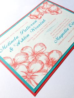 Garden Wedding in Coral and Teal - Custom Wedding Invitations Visit my store and message me for more info!