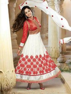 Red and White Designer Georgette Anarkali with heavy work of Embroidery en-crafted on the top and the Bottom. Along with Matching Shantoon Bottom and Chiffon Duppatta.