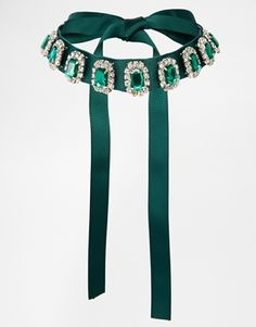 Enlarge ASOS Emerald Jewel Ribbon Choker Necklace  ~  Need to make one of these for myself!