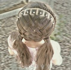 Braided headband with a rubberband basket weave.