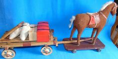 c1900 German papermache Horse  & wooden  Wagon/ accesories LARGE pull toy *SALE*