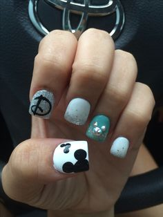 ErikaCosplay - My Disney nails - Cute Nail Art, Cute Nails, Pretty Nails, Flower Nail Designs, Cute Nail Designs, Disney Nail Designs, Hair And Nails, My Nails, Nails For Kids