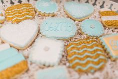 Wedding cookies mint and gold