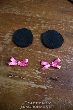 Minnie Mouse Ear Hair Clips (in grey, without the bows, for Mia)