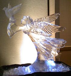 Angel with dove ice carving