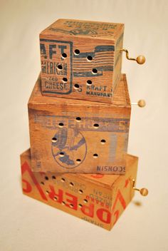 Little music boxes made from vintage wooden crates. By Somethings hiding in here.