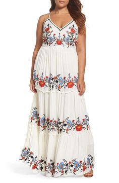 64fd2e8af33 Glamorous Embroidered Tiered Gauze Maxi Dress (Plus Size)
