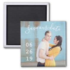Modern Couple Photo Wedding Save the Date Magnets - photos gifts image diy customize gift idea