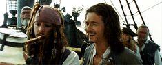 Johnny's dreadlocks getting caught on the jar. I love Orlando laughing beside him. :-)